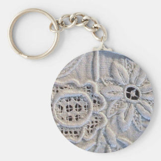 Broderie italienne antique porte-clé rond