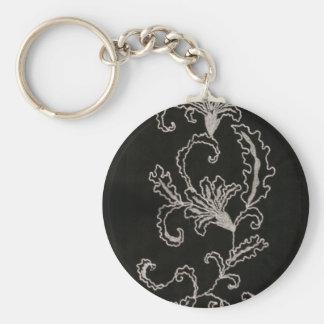Broderie noire et blanche porte-clé rond