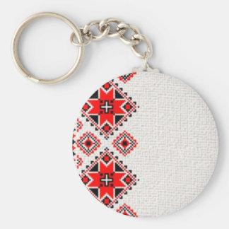 Broderie ukrainienne porte-clé rond