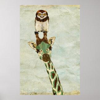 Bronze Giraffe & Owl Art Poster