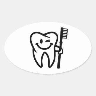 Brosse à dents heureuse de dent sticker ovale