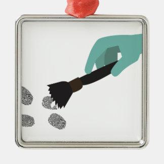 Brosse d'empreinte digitale ornement carré argenté