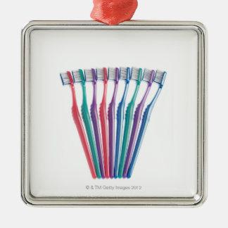 Brosses à dents ornement carré argenté