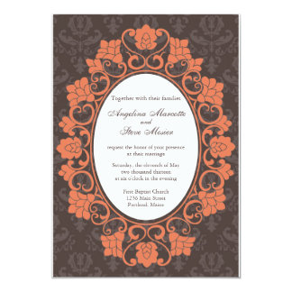 Brown and Coral Floral Damask wedding invitation