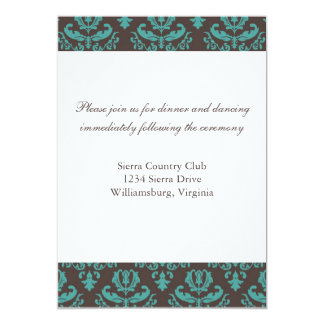 Brown and Teal Damask wedding insert Personalized Invites