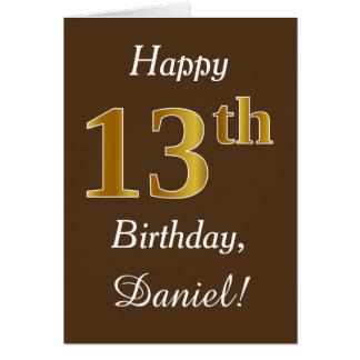Brown, anniversaire d'or de Faux 13ème + Nom fait Carte De Vœux