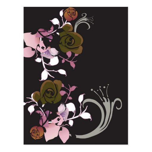 Brown et carte postale rose de roses