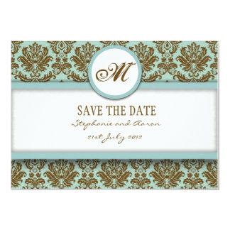 Brown et damassé bleue sauvent la carte de date carton d'invitation  12,7 cm x 17,78 cm