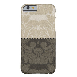Brown et damassé bronzage de toile de Faux Coque iPhone 6 Barely There