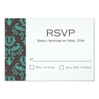 Brown et damassé florale turquoise RSVP Faire-parts