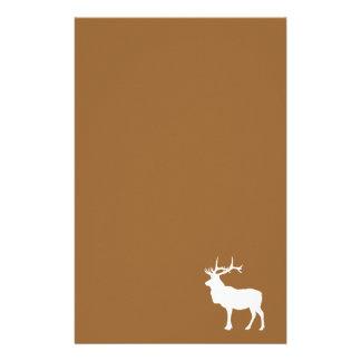 Brown et élans blancs papier à lettre customisable