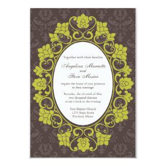 Brown et invitation floral Chartreuse de mariage
