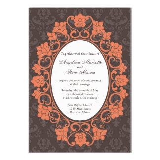 Brown et invitation florale de corail de mariage d