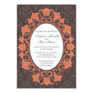 Brown et invitation florale de corail de mariage carton d'invitation  12,7 cm x 17,78 cm