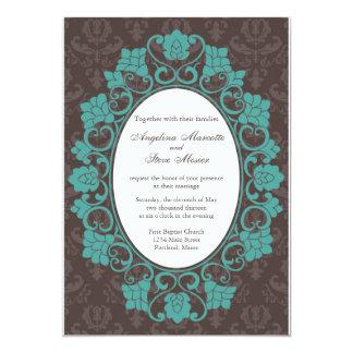Brown et invitation florale turquoise de mariage