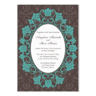 Brown et invitation florale turquoise de mariage d