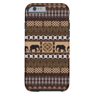 Brown et motif africain beige avec des éléphants