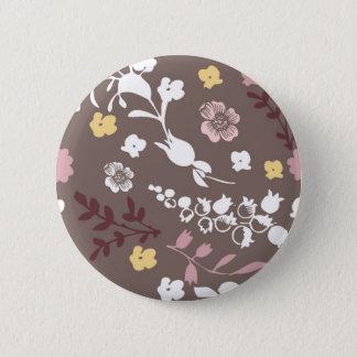 Brown et motif floral romantique vintage rose badge