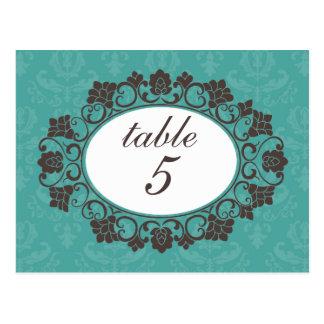 Brown et nombres floraux turquoises de table de da carte postale