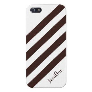 Brown et rayures blanches personnalisables étui iPhone 5