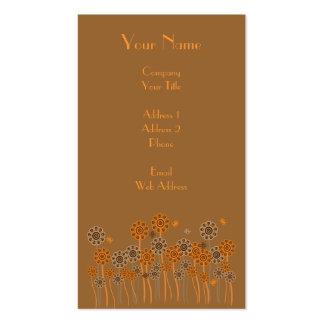 Brown et rétro jardin d'agrément orange carte de visite standard