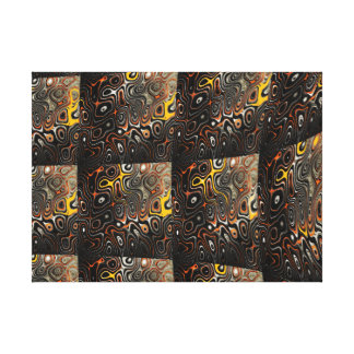 Brown noir abstrait et art jaune-orange de mur toile