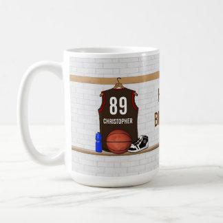 Brown personnalisé et basket-ball rouge Jersey Mug Blanc