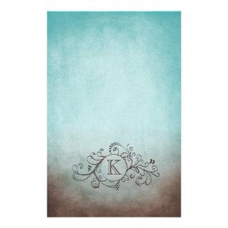 Brown rustique et Flourish de Bohème turquoise Papiers À Lettres