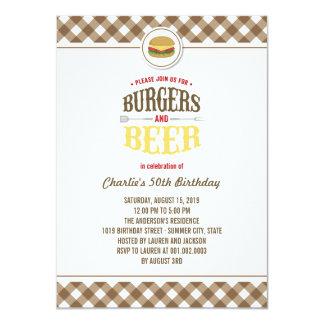 Brown vérifie les hamburgers et la fête carton d'invitation  11,43 cm x 15,87 cm