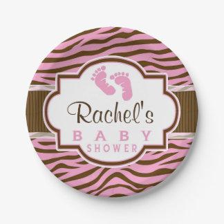 Brown, zèbre rose barre le baby shower de poster assiettes en papier