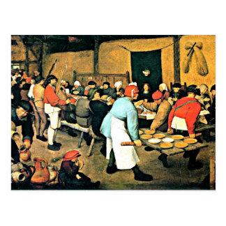 Bruegel l'Aîné-Paysan Wedding-1568 Carte Postale