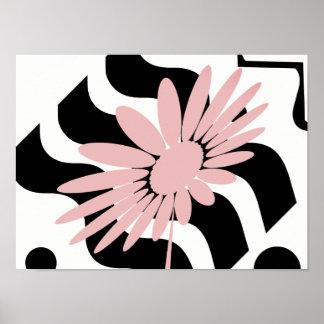 Bruit rose abstrait d'affiche de blanc de noir de poster