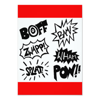 Bruits de super héros carton d'invitation  12,7 cm x 17,78 cm