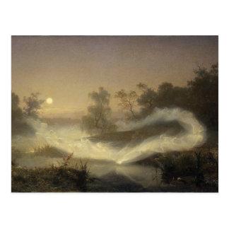 Brume féerique dans le clair de lune carte postale