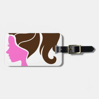 Brun de luxe de rose de portrait de filles étiquette à bagage