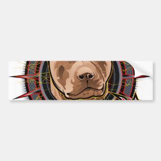 brun et rouge radicaux de pitbull d'art de chien autocollant de voiture