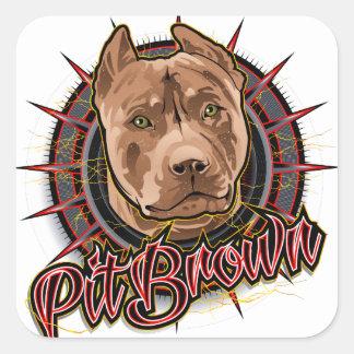 brun et rouge radicaux de pitbull d'art de chien sticker carré