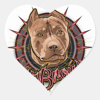 brun et rouge radicaux de pitbull d'art de chien sticker cœur