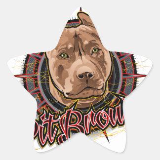 brun et rouge radicaux de pitbull d'art de chien sticker étoile