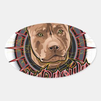 brun et rouge radicaux de pitbull d'art de chien sticker ovale