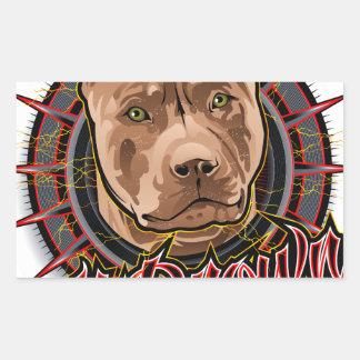 brun et rouge radicaux de pitbull d'art de chien sticker rectangulaire