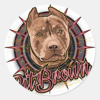 brun et rouge radicaux de pitbull d'art de chien sticker rond