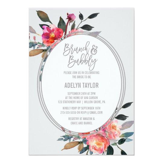 Brunch de guirlande de fleur d'hiver et pétillant carton d'invitation  12,7 cm x 17,78 cm