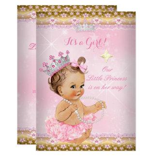 Brune de diadème d'or de tutu de rose de princesse carton d'invitation  12,7 cm x 17,78 cm