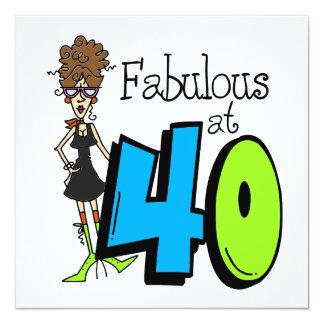 Brune fabuleuse à l'anniversaire 40 carton d'invitation  13,33 cm