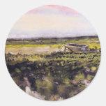 Bruyère de Van Gogh avec la brouette, paysage Adhésif Rond