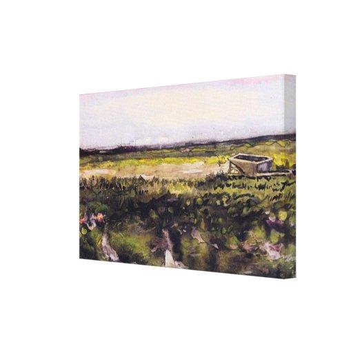 Bruyère de Van Gogh avec la brouette, paysage Toile Tendue