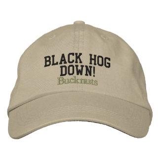 Bucknuts, porc noir vers le bas ! casquette brodée