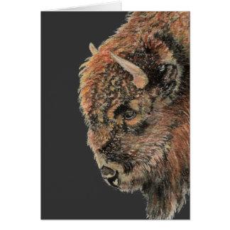 Buffalo, bison, animal d'aquarelle carte de vœux