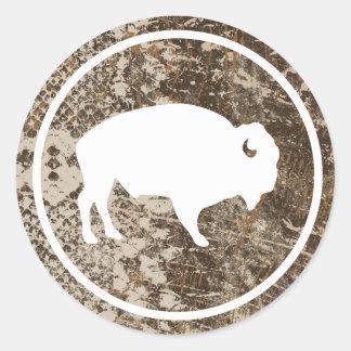 "Buffalo blanc dehors 3"" autocollant rond de"